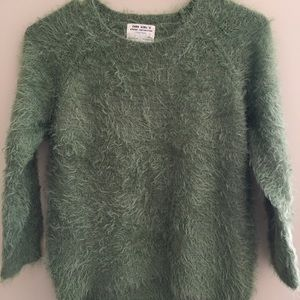Zara Green knitted furry pullover